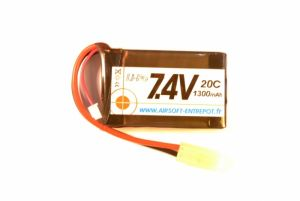 Airsoft Entrepot Batterie LiPo 7,4V 1300mAh 20C (Tamiya Mini) An/Peq-15