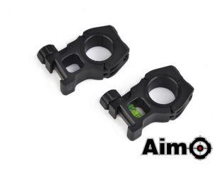 Aim-O Anneaux 25/30mm avec Niveau à Bulle (BK)